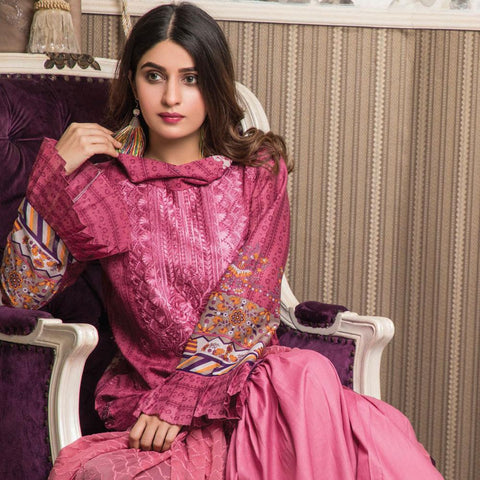 Amani Chikan Kari Embroidered Designer Lawn 3 Piece Un-Stitched Suit - 7 A - test-store-for-chase-value