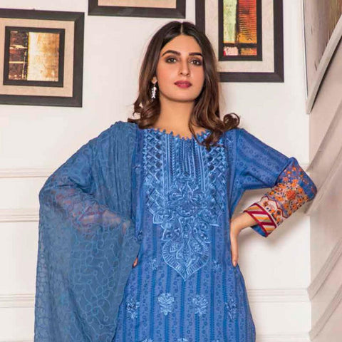 Amani Chikan Kari Embroidered Designer Lawn 3 Piece Un-Stitched Suit - 7 B - test-store-for-chase-value