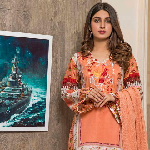 Amani Chikan Kari Embroidered Designer Lawn 3 Piece Un-Stitched Suit - 8 A - test-store-for-chase-value