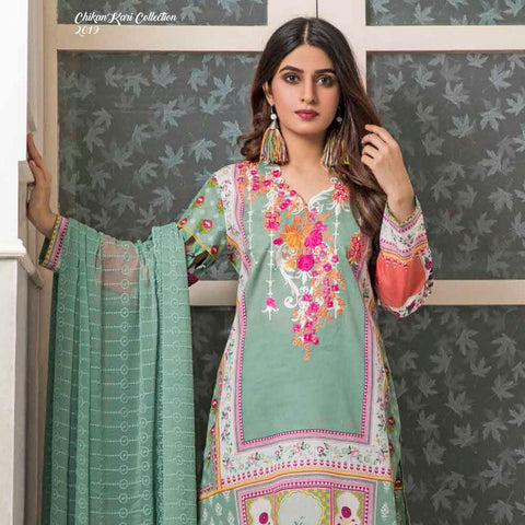 Amani Chikan Kari Embroidered Designer Lawn 3 Piece Un-Stitched Suit - 8 B - test-store-for-chase-value