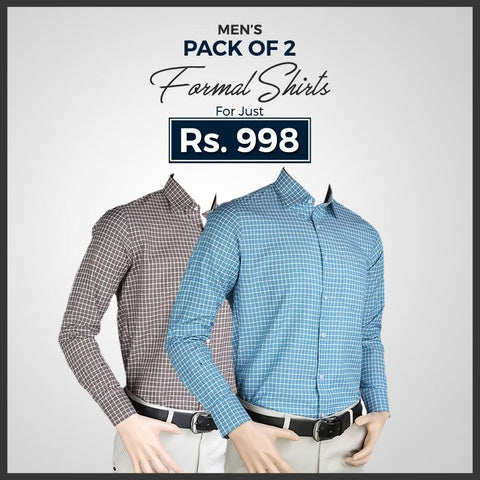 Men's Check Formal Shirt Pack Of 2 - test-store-for-chase-value