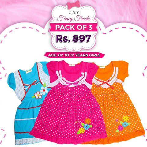 Girls Printed Half Sleeves Frock Pack Of 3 - test-store-for-chase-value
