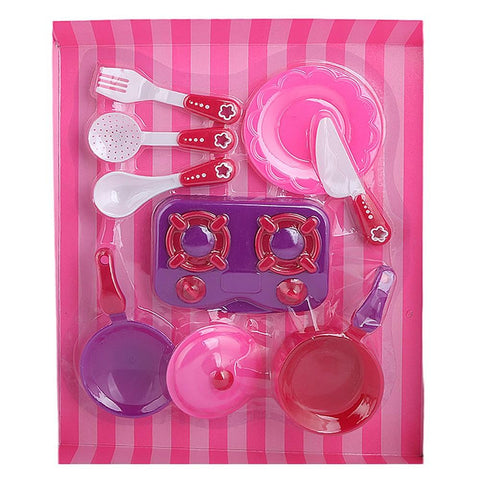 Kitchen 8 Pcs Set For Girls - Pink - test-store-for-chase-value