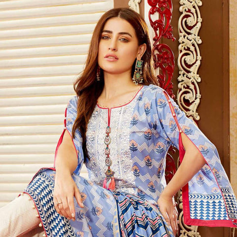 Amna Sohail Imperial Reflections Embroidered Lawn 3 Piece Un-Stitched Suit - 4590 A - test-store-for-chase-value