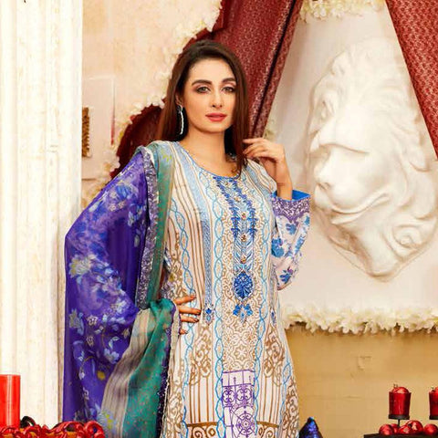 b2d1883ce8 Amna Sohail Imperial Reflections Embroidered Lawn 3 Piece Un-Stitched Suit  - 4593 A