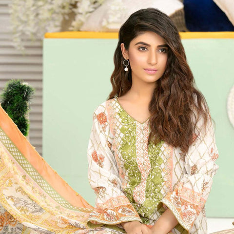 Iraar Luxurious Pearl Collection Embroidered Lawn 3 Piece Un-Stitched Suit - 3 A - test-store-for-chase-value