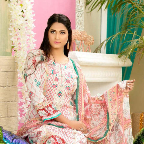 Iraar Luxurious Pearl Collection Embroidered Lawn 3 Piece Un-Stitched Suit - 3 B - test-store-for-chase-value