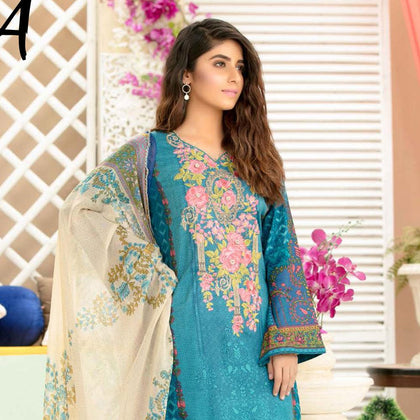Iraar Luxurious Pearl Collection Embroidered Lawn 3 Piece Un-Stitched Suit - 4 A - test-store-for-chase-value