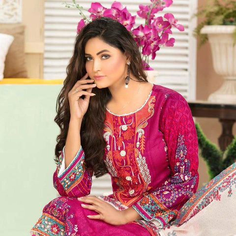 Iraar Luxurious Pearl Collection Embroidered Lawn 3 Piece Un-Stitched Suit - 4 B - test-store-for-chase-value