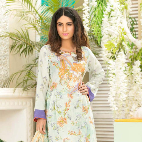Iraar Luxurious Pearl Collection Embroidered Lawn 3 Piece Un-Stitched Suit - 6 A - test-store-for-chase-value