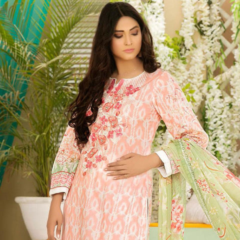 Iraar Luxurious Pearl Collection Embroidered Lawn 3 Piece Un-Stitched Suit - 7 B - test-store-for-chase-value