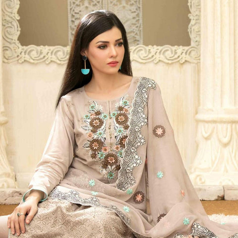 Famininity Schiffli Embroidered Lawn 3 Piece Un-Stitched Suit - 4581 - test-store-for-chase-value