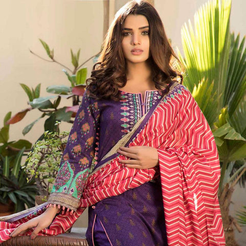 BS Printed Lawn Collection 3 Piece Un-Stitched Suit - 1 - test-store-for-chase-value