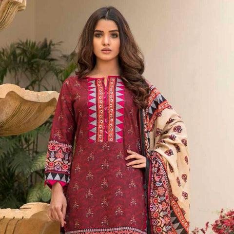 BS Printed Lawn Collection 3 Piece Un-Stitched Suit - 6 - test-store-for-chase-value