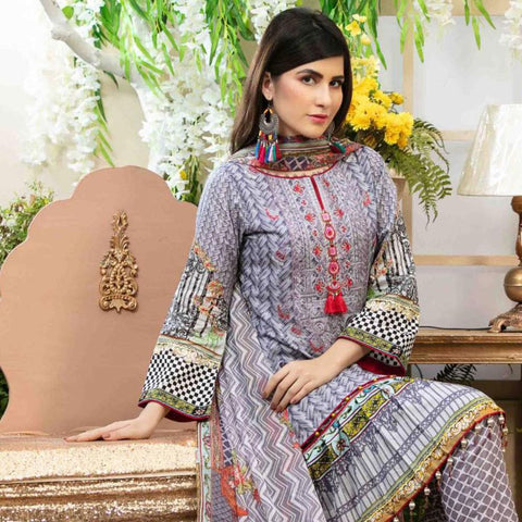 Amna Sohail Pure Decadence Embroidered Lawn 3 Piece Un-Stitched Suit - 4549 A - test-store-for-chase-value