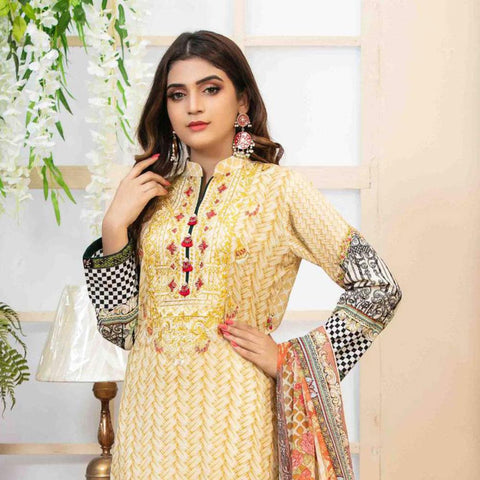 Amna Sohail Pure Decadence Embroidered Lawn 3 Piece Un-Stitched Suit - 4549 B - test-store-for-chase-value