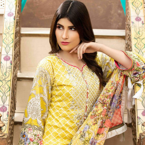 Amna Sohail Pure Decadence Embroidered Lawn 3 Piece Un-Stitched Suit - 4556 A - test-store-for-chase-value