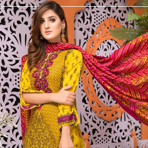 Mughal Bagh Embroidered Lawn 3 Piece Un-Stitched Suit - AY-172 B - test-store-for-chase-value