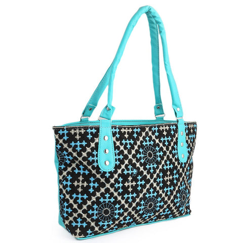 Women's Embroidery Handbag - Cyan - test-store-for-chase-value