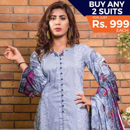 Rangreza Printed Lawn 3 Piece Un-Stitched Suit Vol 8 - 07