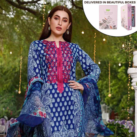 Zobia Noor Embroidered Lawn 3 Piece Un-Stitched Suit - ZN-06B
