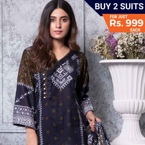 Rangreza Printed Lawn 3 Piece Un-Stitched Suit Vol-06 ZS - 01 - test-store-for-chase-value