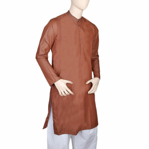 Eminent Embroidered Trim Fit Kurta For Men - Dark Brown