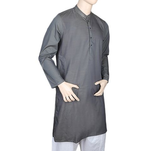 Eminent Embroidered Trim Fit Kurta For Men - Steel Green