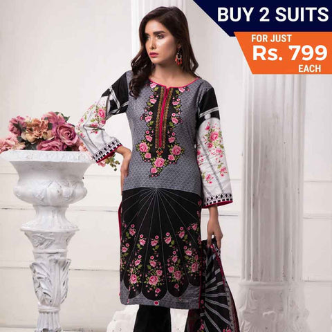 Sahil Printed Lawn 3 Piece Un-Stitched Suit Vol 7 - ZS 10 - test-store-for-chase-value