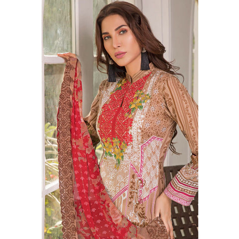 Zobia Noor Embroidered Lawn 3 Piece Un-Stitched Suit - A2