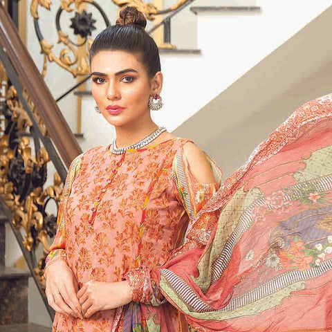 Masumery Embroidered Lawn 3 Piece Un-Stitched Suit Vol 17 - 01