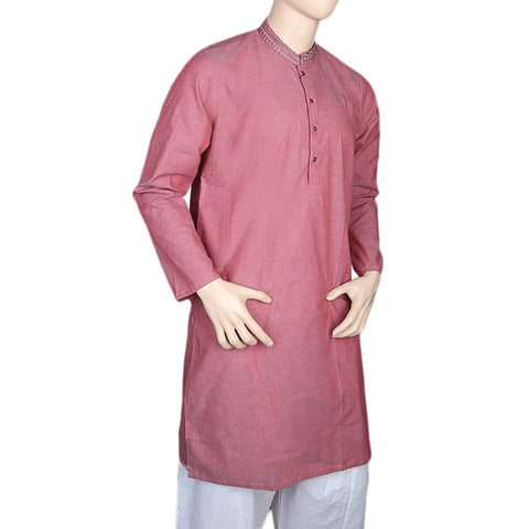 Eminent Embroidered Trim Fit Kurta For Men - Peach
