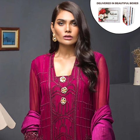 Kalyan Chiffon Embroidered 3 Piece Un-Stitched Suit - 10