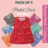Girls Printed Frock Pack Of 3 - Multi
