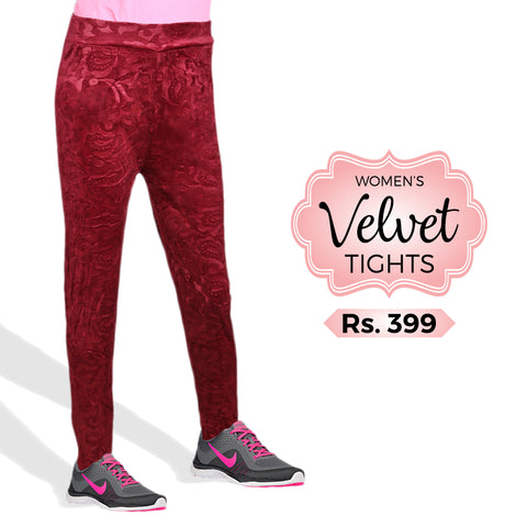 Women's Velvet Tights - Maroon