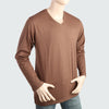 Men's V Neck Full Sleeves T-Shirt - Dark Brown