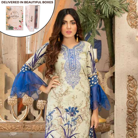 Gulzeb Embroidered Lawn Un-Stitched Suit - 1