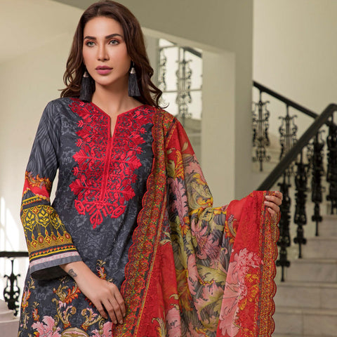 Zobia Noor Embroidered Lawn 3 Piece Un-Stitched Suit - A1