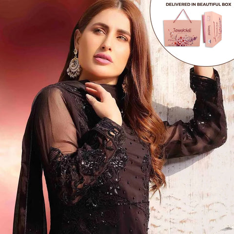 Exclusively Yours Heavy Embroidered Chiffon 3 Piece Un-Stitched Suit - 4634