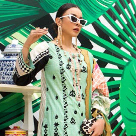 Signature Icon Printed Embroidered Lawn 3 Piece Un-Stitched Suit - 1 A
