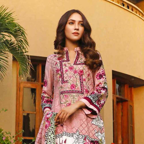 Haya Emaan Embroidered Viscose 3 Piece Un-Stitched Suit - 1A