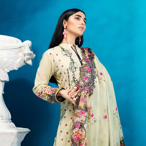 Iman Embroidered Lawn 3 Piece Un-Stitched Suit Vol 2 - 1 A