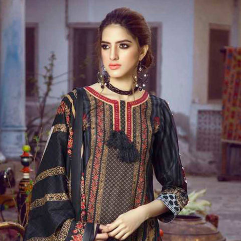 Monsoon Printed Lawn 3 Piece Un-Stitched Suit Vol 1 - 1 A