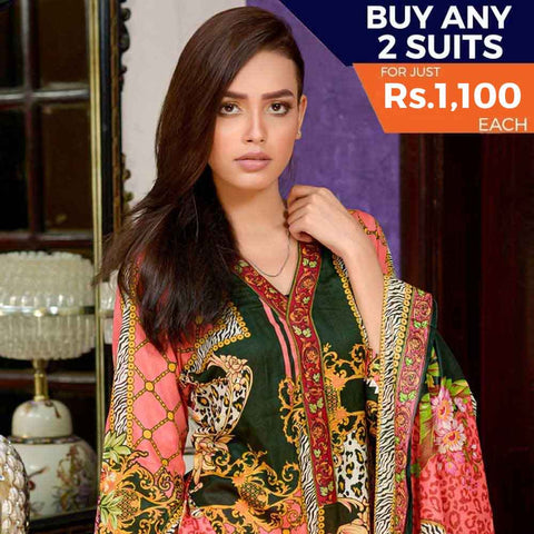 Three Star Printed Cotton 3 Piece Un-Stitched Suit - 1A