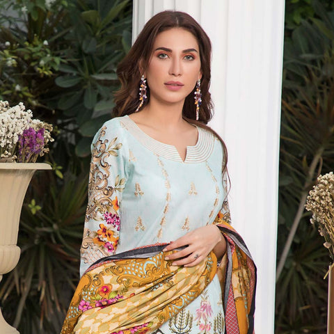 Sahil Luxury Embroidered Festive Lawn 3 Piece  Un-Stitched Suit - A1