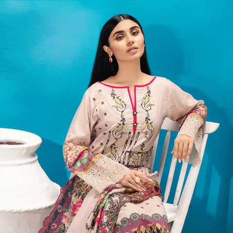 Iman Embroidered Lawn 3 Piece Un-Stitched Suit Vol 2 - 1 B