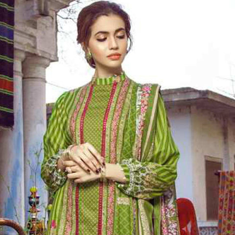Monsoon Printed Lawn 3 Piece Un-Stitched Suit Vol 1 - 1 B