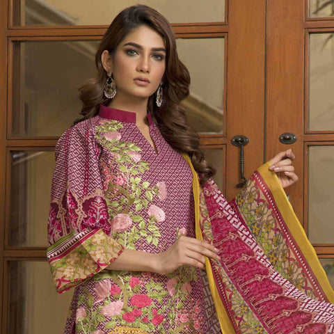 Zmaria Embroidered Lawn Un-Stitched Suit - 1B
