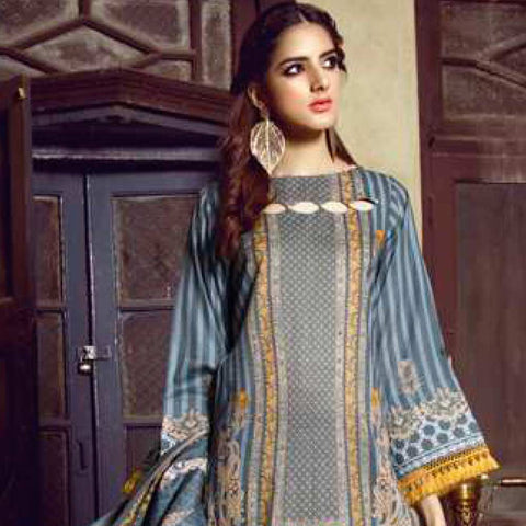 Monsoon Printed Lawn 3 Piece Un-Stitched Suit Vol 1 - 1 C
