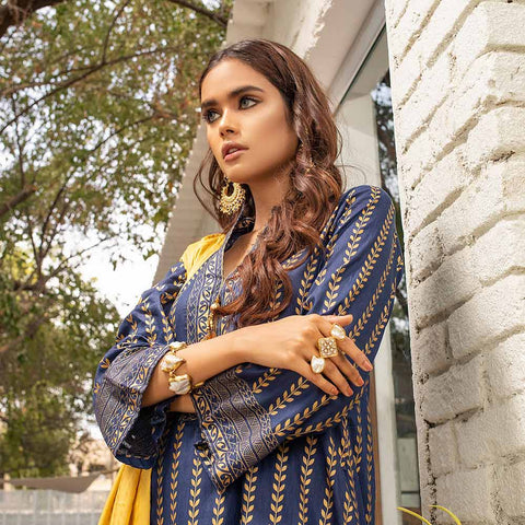 Banarsi Gold Printed Cotton 3 Piece Un-Stitched Suit Vol 2 - 02